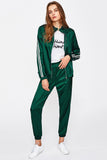 SIDE STRIPED SLEEVE ZIP UP JACKET WITH DRAWSTRING SWEATPANTS