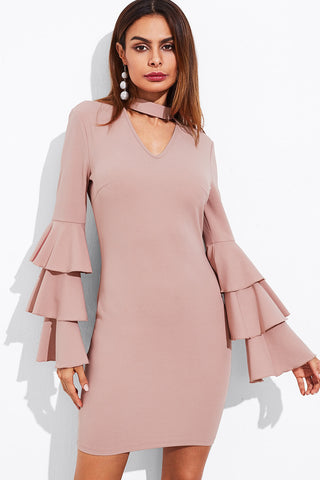 BELLA COLD SHOULDER VELVET DRESS BABY PINK