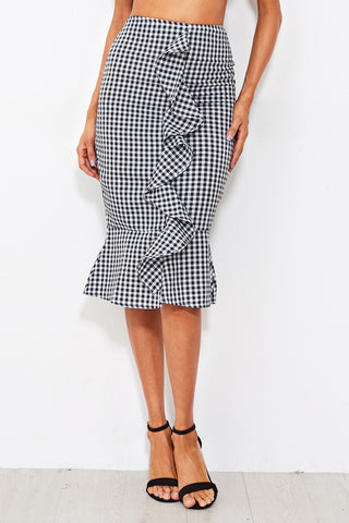 GINGHAM BOW TIE CROP CAMI TOP WITH SKIRT