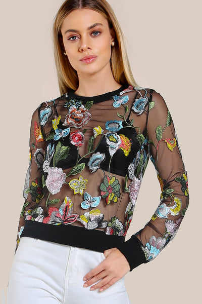 EMBROIDERED FLORAL MESH SWEATSHIRT