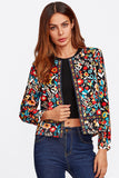BUTTON FLORAL PRINT JACKET