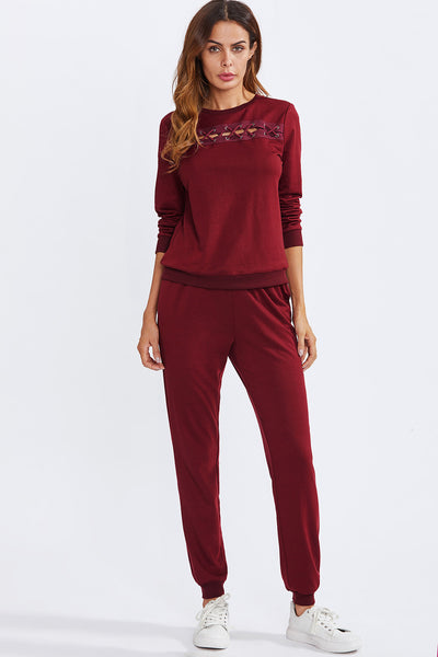 39681c7580 EYELET CRISSCROSS DETAIL PULLOVER AND SWEATPANTS SET – Rare Collect