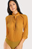 FRILLED COLLAR TIE BACK PLEATED BLOUSE BODYSUIT