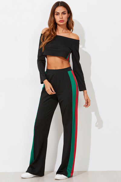 BARDOT CROP TEE WITH STRIPE SIDE WIDE PANTS