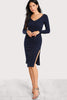 DOUBLE V NECK HIGH SLIT RIB KNIT DRESS