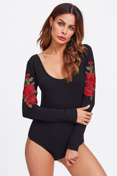CUT OUT BACK EMBROIDERED PATCH RIBBED BODYSUIT