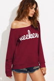 WEEKEND PRINT KANGAROO POCKET SWEATSHIRT