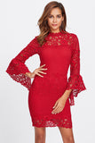 BELL SLEEVE GUIPURE LACE 2 IN 1 DRESS