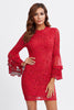 TIERED BELL SLEEVE FITTED LACE DRESS
