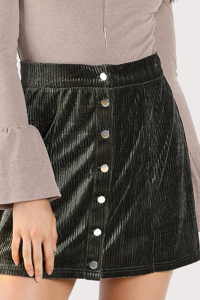 BUTTON UP RIBBED VELVET SKIRT