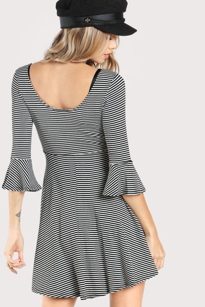 STRIPED FIT AND FLARE SKATER DRESS