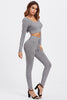 RIB KNIT MARLED HOODIE TEE & LEGGINGS SET