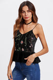 BOTANICAL EMBROIDERED FRILLED VELVET CAMI TOP