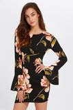BELL SLEEVE FLORAL PRINT DRESS