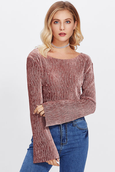 BELL SLEEVE BEADING SLIM TOP