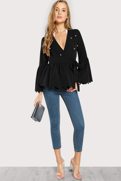 BELL SLEEVE PEARL BEADING SCALLOPED WRAP BLAZER