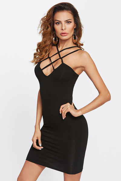 CAGED FRONT SOLID FITTED DRESS