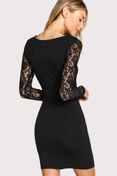 FLORAL LACE INSERT FORM FITTING DRESS