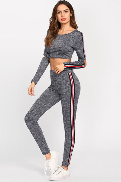 OPEN ELBOW MARLED STRIPED TEE & LEGGINGS SET