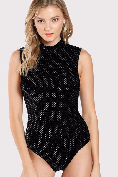 ALLOVER STUDDED ARMHOLE BODYSUIT