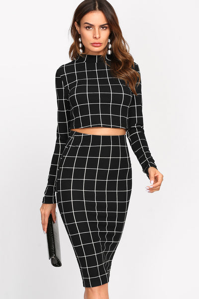 CROP GRID TOP AND PENCIL SKIRT CO-ORD
