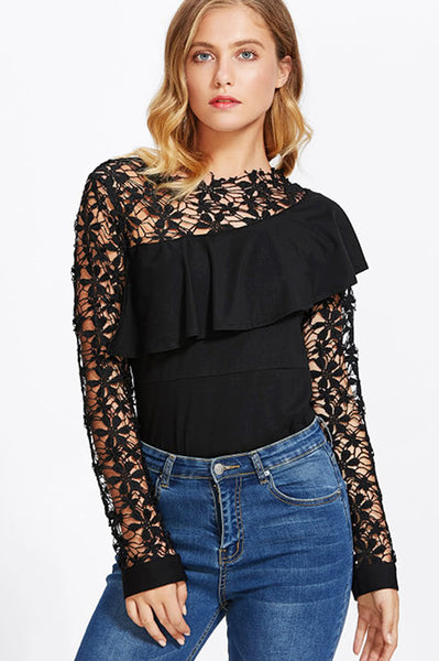 ASYMMETRIC FLOUNCE TRIM MIXED MEDIA TOP