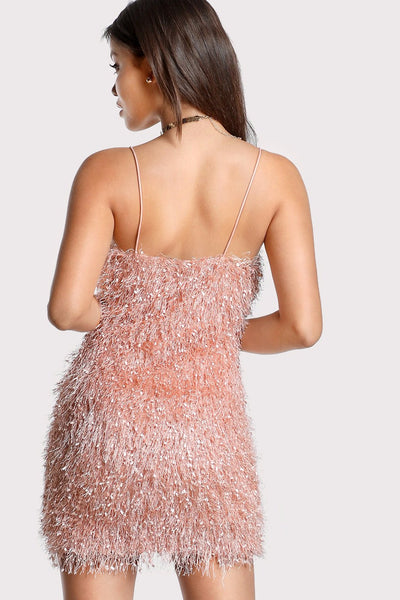 ALL OVER FLUFFY FRINGE CAMI DRESS PINK RTS