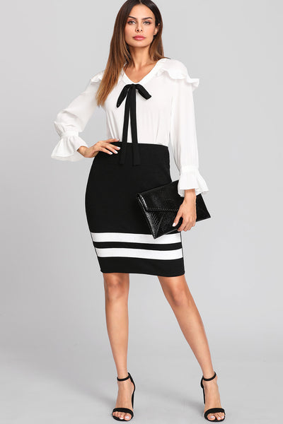 BOW TIE DETAIL FRILL TRIM BLOUSE