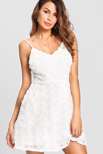 3D WHITE ROSE CAMI DRESS WITH POCKETS