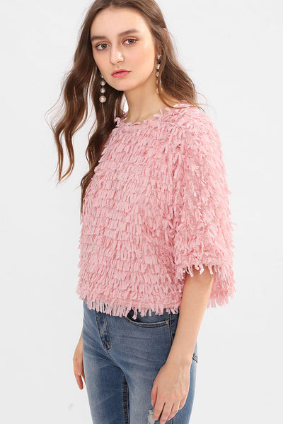 ALLOVER FRINGE TOP
