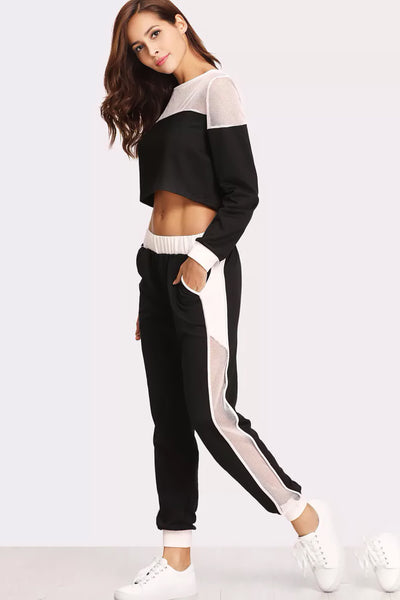 FISHNET INSERT SWEATSHIRT AND PANTS SET