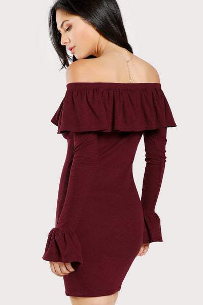 BELL CUFF FLOUNCE OFF SHOULDER DRESS
