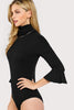 TURTLE NECK TRUMPET SLEEVE RIBBED BODYSUIT