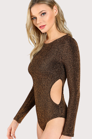 EYELET LACE UP FRONT RIBBED BARDOT BODYSUIT