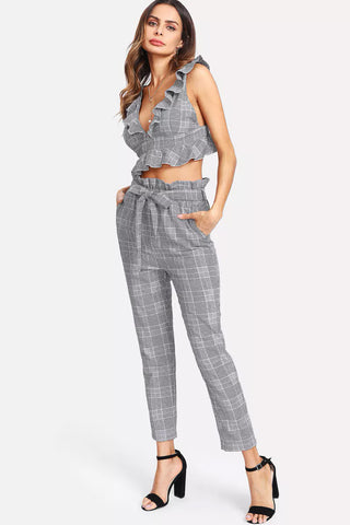 OFF SHOULDER BUTTON RUFFLE JUMPSUIT