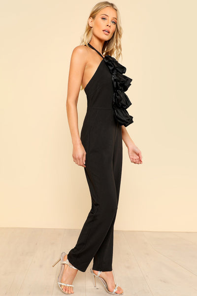 OPEN BACK BOW FRONT HALTER JUMPSUIT