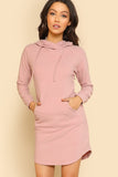 POCKET FRONT RIB KNIT HOODIE DRESS