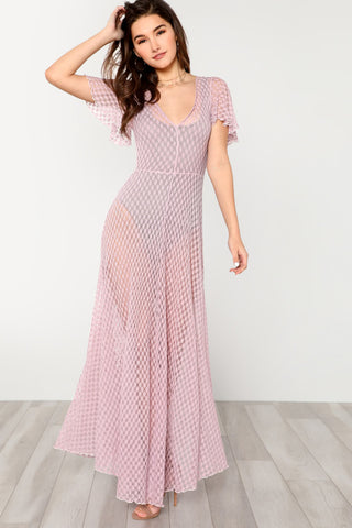 Two tone wide waistband floral lace dress