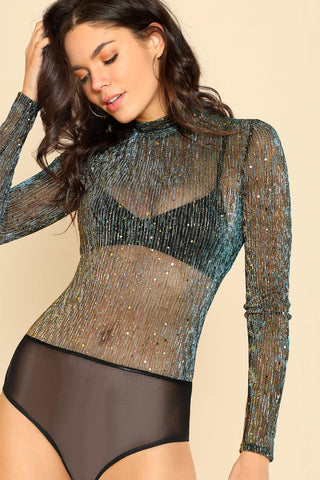 OPEN BACK GLITTER BODYSUIT