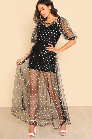 LACE PANEL SLEEVE PLEATED DRESS