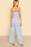 BLUE SHIRRED RUFFLE HEM STRAPLESS TOP & PANTS SET