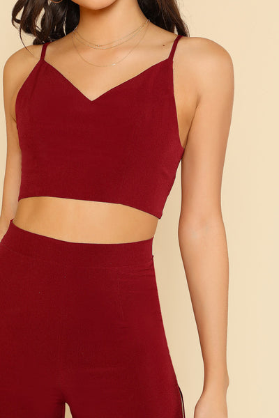 CROP CAMI TOP AND HIGH SLIT PANTS CO-ORD