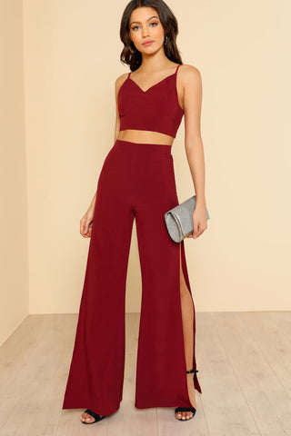 MOCK NECK SOLID TOP & FLARE HEM PANTS SET