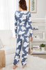 FLORAL PRINT WRAP PJ SET WITH EYE MASK