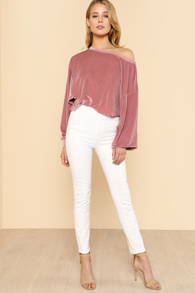 ASYMMETRIC SHOULDER VELVET TOP