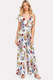ASYMMETRICAL RUFFLE SHOULDER FLORAL JUMPSUIT