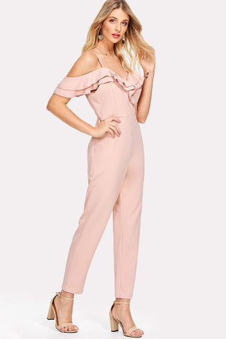 LAYERED FLOUNCE ASYMMETRIC NECK JUMPSUIT