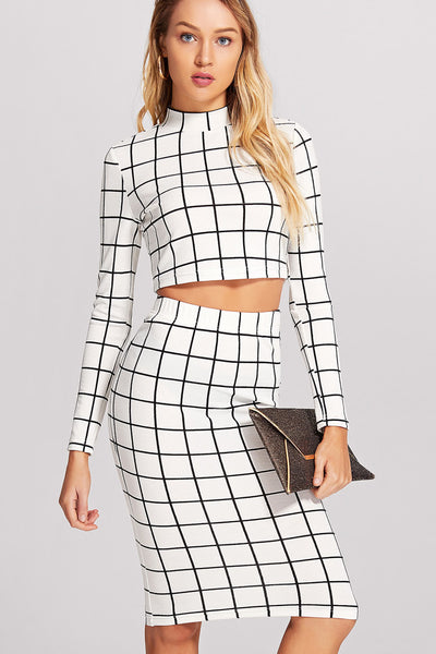 5c197b6917a222 CROP GRID TOP   PENCIL SKIRT CO-ORD – Rare Collect