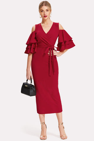 PINK OPEN SHOULDER TIERED SLEEVE SURPLICE DRESS