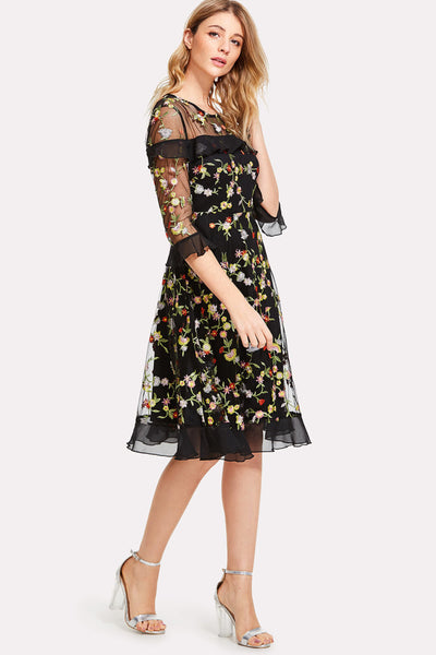 BOTANICAL EMBROIDERED MESH OVERLAY RUFFLE DETAIL DRESS